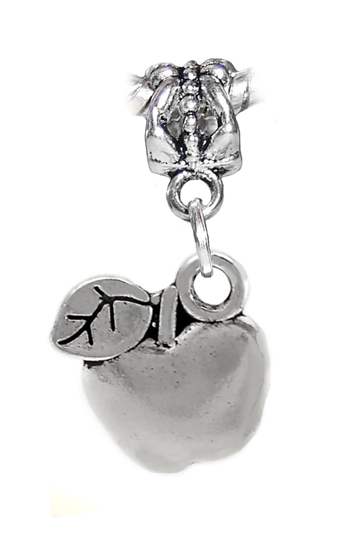 Apple Fruit Food Teacher Gift Spacer Charm fits Silver European Bead Bracelets