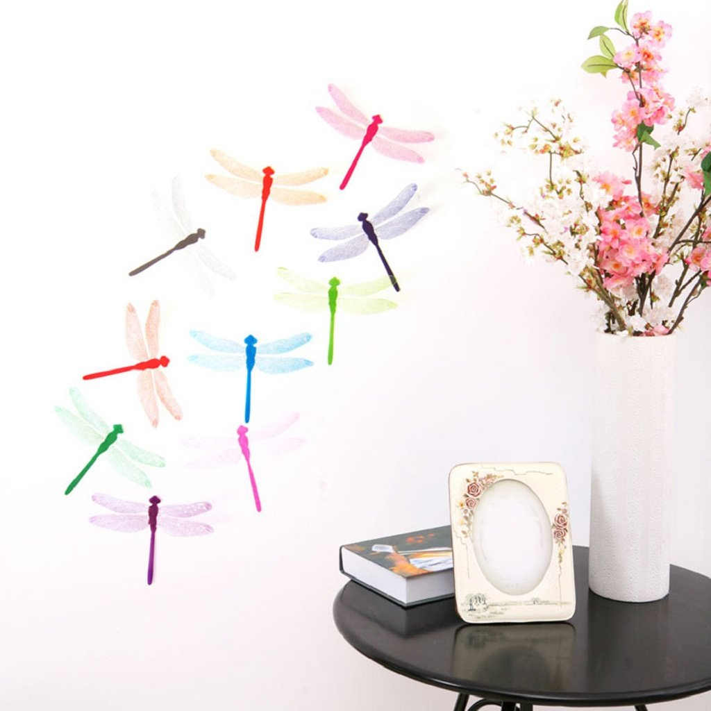 LUNIWEI 10pcs Decal Wall Stickers Home Decorations 3D Dragonfly by LUNIWEI (Image #1)