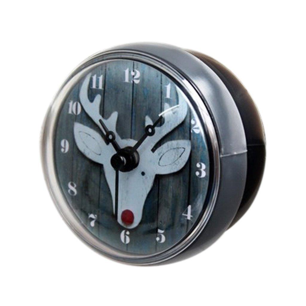 B Blesiya Nordic Christmas Deer Design 8cm Dia Mini Portable Waterproof Kitchen Bathroom Shower Water Clock Suction Cup Sucker Wall Clock