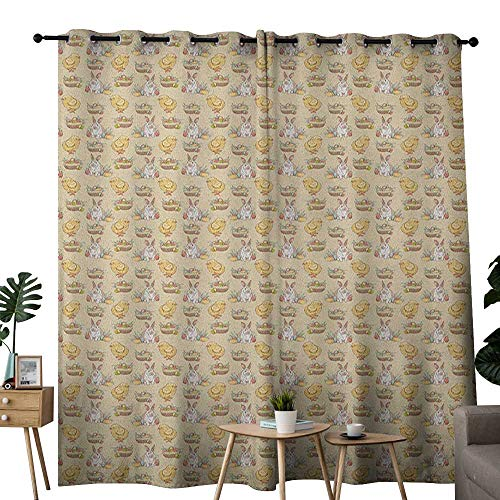 "NUOMANAN Decor Curtains by Easter,Vintage Style Hand Drawn Pattern with Chicken Rabbit and Basket Full of Painted Eggs, Multicolor,Wide Blackout Curtains, Keep Warm Draperies, Set of 2 84""x84"""