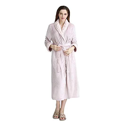 28fc1e4ef7 DoMii Thick Long Flannel Bathrobe Full Length Plush Warm Velvet Fleece Robe  Sleepwear for Women