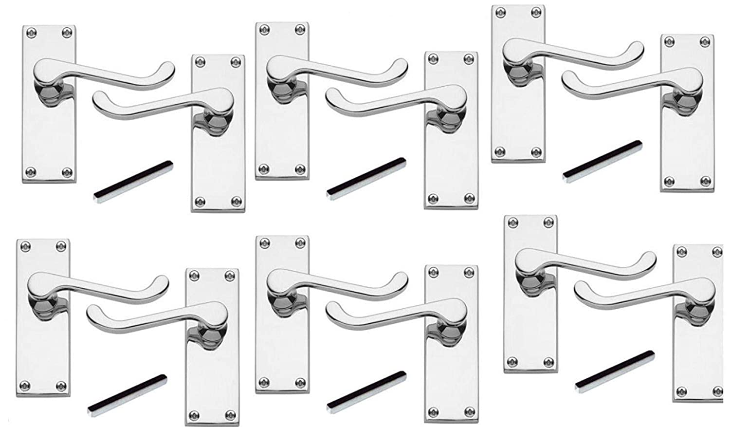 6 x Pairs of Victorian Scroll Polished Chrome Lever Latch Door Handles 120mm Long - Golden Grace Sumison Ltd