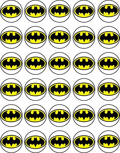 Batman Cupcake Picks (30 x Edible Cupcake Toppers - Batman Logo Themed Collection of Edible Cake)