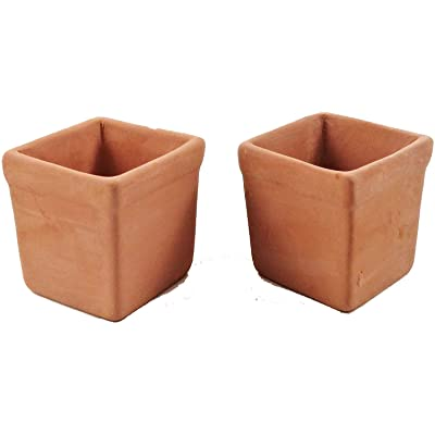 Melody Jane Dollhouse 2 Large Square Clay Terracotta Tree Plant Pots 1:12 Garden Accessory: Toys & Games