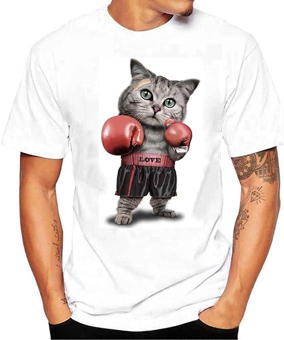 K-youth Camiseta Hombre, Gato de Boxeo Camiseta para Hombre tee Cuello Redondo Tops Camisetas Ropa Hombre Barata Deportiva 2018 Ofertas: Amazon.es: Ropa y accesorios