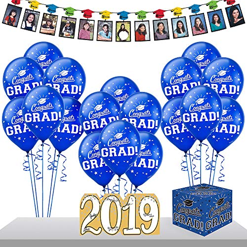 Party City Blue Graduation Gift Table and Sign-In Kit, Includes Garland, Autograph Sign, Card Holder, and Balloons