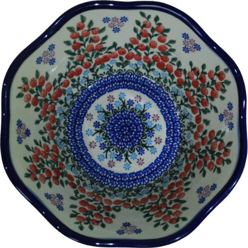 - Polish Pottery Ceramika Boleslawiec 0424/282 Royal Blue Patterns 6-1/2-Cup Viki Bowl, Red Berries and Daisies