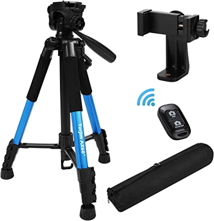 """Torjim 60/"""" Camera Tripod with Carry Bag with Bluetooth Remote for DSLR SLR Cameras Compatible with iPhone /& Android Phone-Black 5kg//11lb Load Lightweight Travel Aluminum Professional Tripod Stand"""