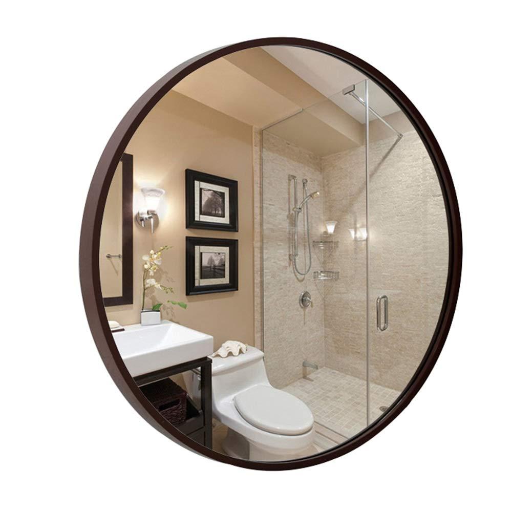 Mirror, Bathroom Mirror Border Makeup Mirror Wooden Frame Large Round Mirror Wall Mirror (Color : Brown, Size : 50cm) JU QIN UK