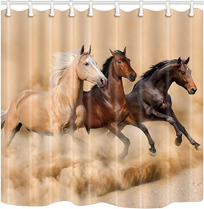 JOSENI Shower Curtain,Horse Head Chess Black Brown Check Plaid Checkerboard,Personalized Decor Bathroom Curtain,72 x 72