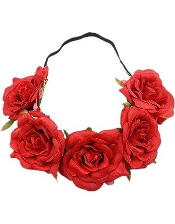 Kanggest 1 Piezas Diadema de Flores Mujer Venda de Pelo Alta Elasticidad Rosas y Hoja Cinta