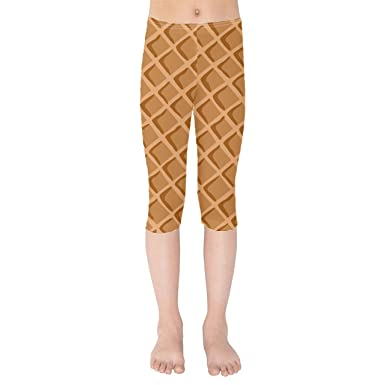 08cf3622d7f251 Amazon.com: Icecream Waffle Cone Kids Capri Leggings: Clothing