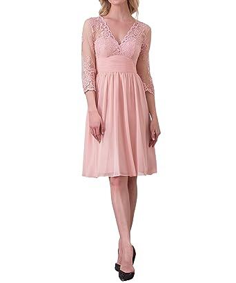 088f05fdba3 Timormode Robe de Soirée Mariage Femme Chic Manches 3 4 Col V Dentelle  Mousseline 10013Blush