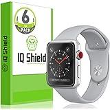 Apple Watchスクリーンプロテクター(38mmシリーズ3/ 2/ 1互換6パック、IQ Shield LIQuidSkinフルカバースクリーンプロテクターfor Apple Watch HDクリア気泡防止フィルム