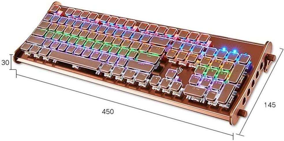 SYXX Metal Retro Classic Bluetooth Retro Backlight Mechanical Keyboard High-end Real Mechanical Keyboard Desktop Computer Laptop Esports Wired 104 Key No Punch Metal File Keyboard