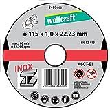 Wolfcraft 8460000 8460000-3 Discos de Cortar para Metal especifico para Acero Fino, en Caja expositora diam. 115 x 1,0 x 22,23 mm, Plata, Set de 3 Piezas