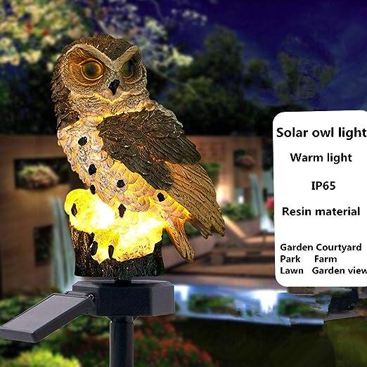 Lámpara solar de búho marrón con panel solar LED de búho falso, resistente al agua, IP65, funciona con energía solar, para jardín, patio, jardín, 2 unidades: Amazon.es: Iluminación