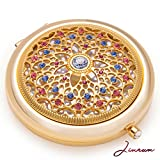 Cheap Unique Gifts For Women/24k Gold Electroplate Makeup Mirror by Jinvun: Ultimate Luxury Round Vanity Mirror w/Diamonds/Sturdy Travel Purse Compact Cosmetic Mirror/Folding Magnifying Beauty Mirror