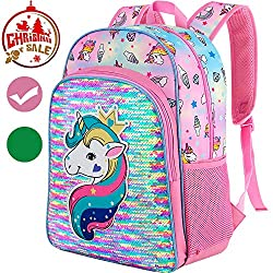 Sequin Unicorn Backpack for School