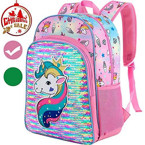 Unicorn Backpack, 16' Little Girls Sequin Preschool Backpacks
