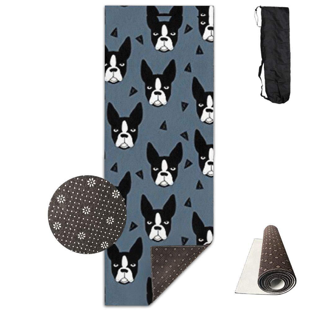 Boston Terrier Dog,Yoga Towel Exercise Mat Non-Slip High Density Waterproof Yoga Mats Fitness