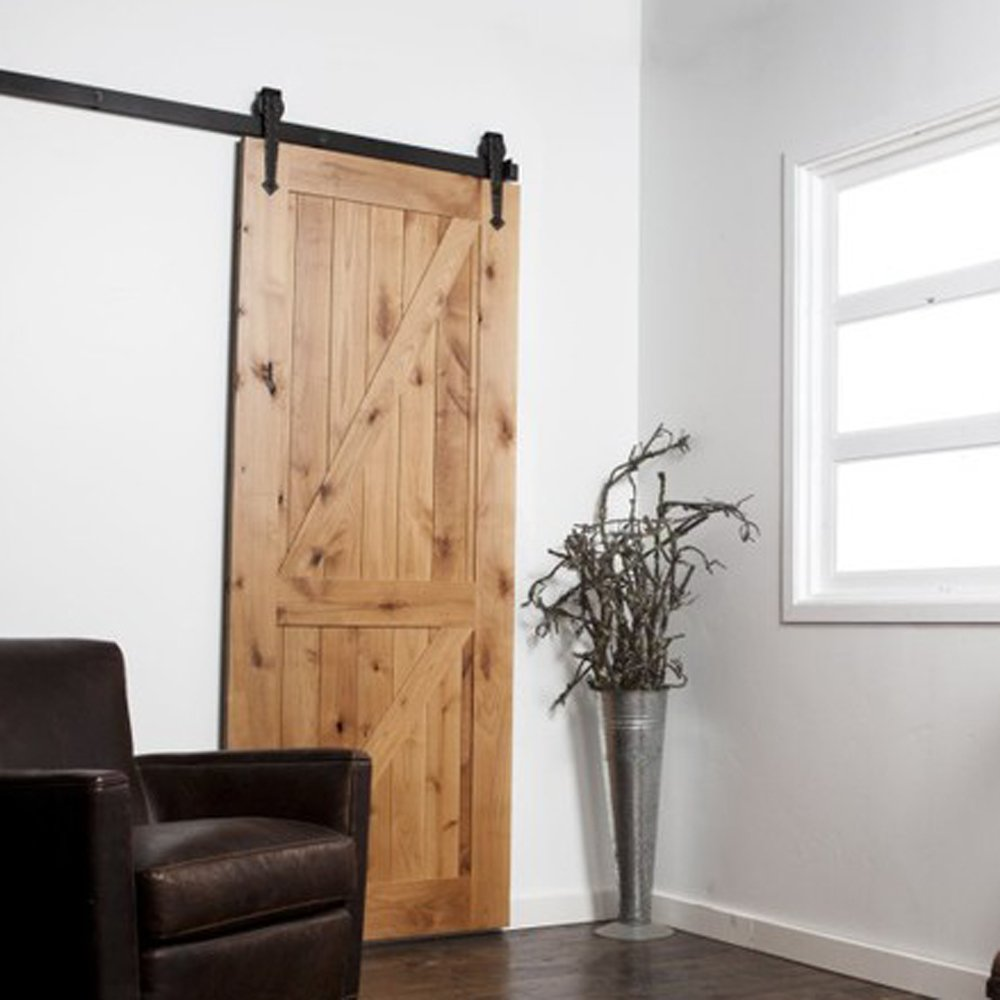 Hahaemall Kit de quincaillerie en acier pour porte coulissante simple /à galets