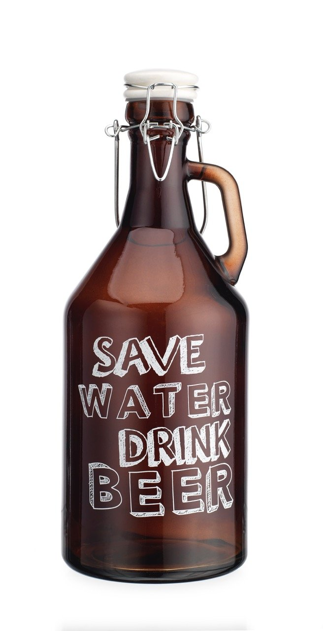 Original Glass Growler for Save Water Drink Beer 1/2 Gallon (64oz) with Hermetic Seal Ceramic Lid