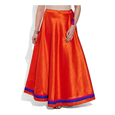 a1195a2669 Indian Handicrfats Export Very Me Solid Women's Pleated Orange Skirt ...