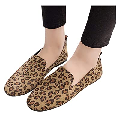YiYLunneo Women Flat Loafers Round Toe Flock Slip-On Shoes Leopard Work Single Shoes Pea Shoe Boat Shoes Office Shoes: Clothing