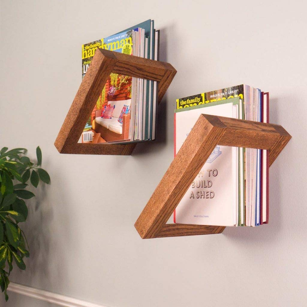 Amazon.com: Floating Wooden Wall Shelves for Bedroom Set of 8