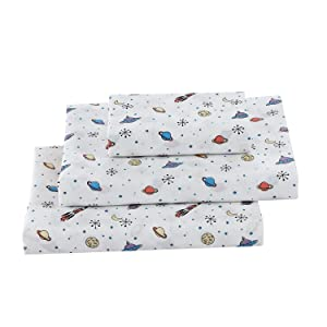 Softan Twin Bed Sheet Set for Boys, 3 PC Space Adventure Printed Brushed Microfiber Kids Bedding Set, 1 Flat Sheet,1 Deep Pocket Fitted Sheet, and 1 Pillow Case, Breathable & Silky Soft Feeling Sheets