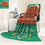 AmaPark Digital Printing Blanket Poster of Famous Monument Hawa Mahal in India Orange and Jade Green Summer Quilt Comforter
