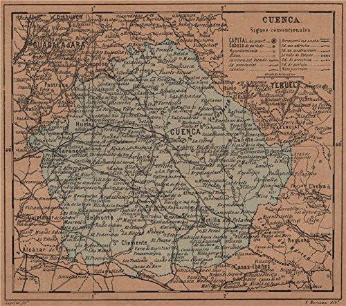Cuenca. Castilla-La Mancha. Mapa Antiguo de la Provincia – 1905 – Old Antiguo Mapa Vintage – Mapas de Impreso de España: Amazon.es: Hogar