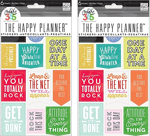 me & my BIG ideas Create 365 The Happy Planner Get It Done Stickers, 6 Sheets (2 Pack)