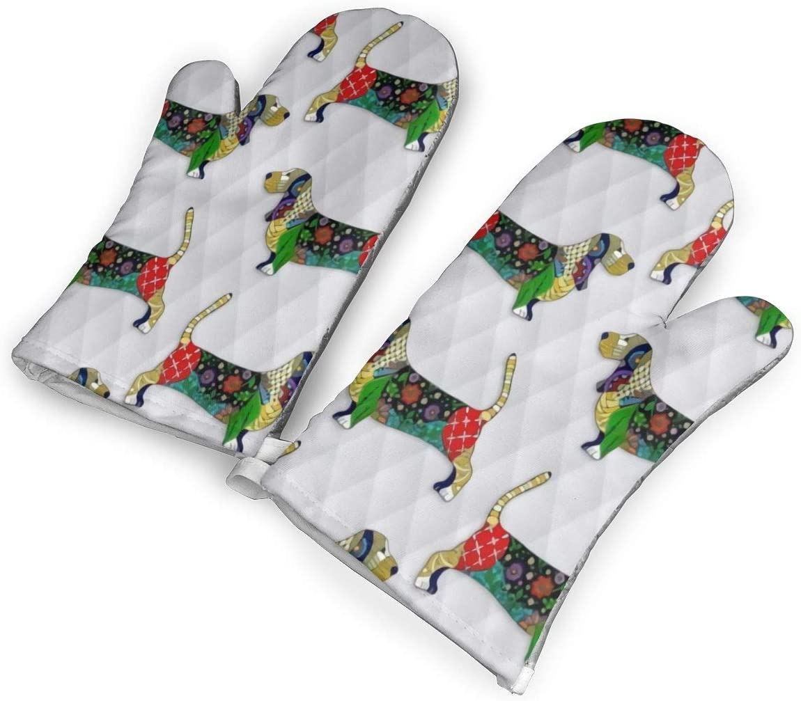 not Day of The Dead Bassett Hound Oven Mitts with Polyester Fabric Printed Pattern,1 Pair of Heat Resistant Oven Gloves for Cooking,Baking,Grilling,Barbecue Potholders