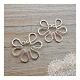 Fake Nipple Ring Set of 2 Non Pierced Silver Wire Flower Piercing Body Jewelry for Women