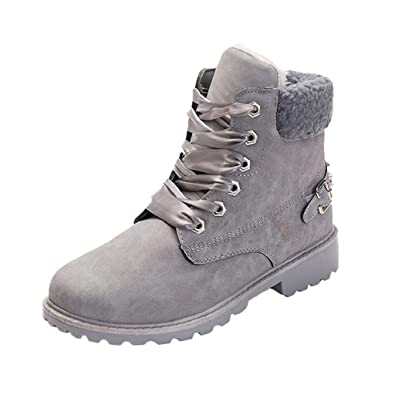 6c1be38478145 Amazon.com | REYO Women Cute Warm Boots Casual Round Toe Solid Lace ...