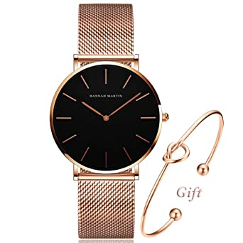 f6cea96e Women's Rose Gold Watch Analog Quartz Stainless Steel Mesh Band Casual  Fashion Ladies Wrist Watches with Love Knot Bracelet Gift…
