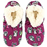 Night Owl Womens Plush Fuzzy Feet Slippers by LazyOne | Ladies Soft Fuzzy House Slippers (S/M)