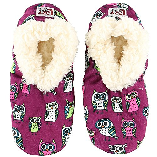 Night Owl Womens Plush Fuzzy Feet Slippers by LazyOne | Ladies Soft Fuzzy House Slippers (L/XL)