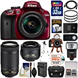 Nikon D3400 Digital SLR Camera (Red) & 18-55mm VR, 70-300mm DX AF-P, 35mm f/1.8G Lenses + 32GB Card + Case + Flash + Battery & Charger + Tripod + Kit