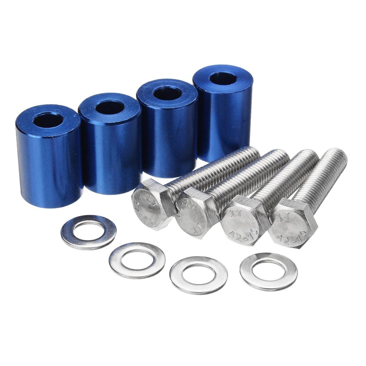 GOZAR 1 Inch Alloy Billet Hood Vent Spacer Riser For Car Auto Motor Turbo Engine Swap 8mm - Blue