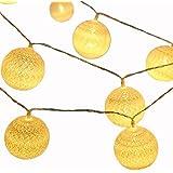 Bidason 4M 20球 LED 暖かい光 綿 ボールストリング 電飾 コットン ボール 装飾ライト USB給電式 ボール型ランプ ストリングライト (ウォームホワイト・綿糸プラスチックシェル)