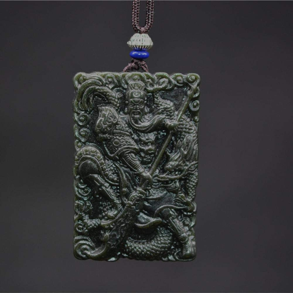 VFJLR Colgante Colgante de Collar de Jade Guanyun Colgante Joyas para Hombres Colgante de Mujer Joyería Fina con Cadena