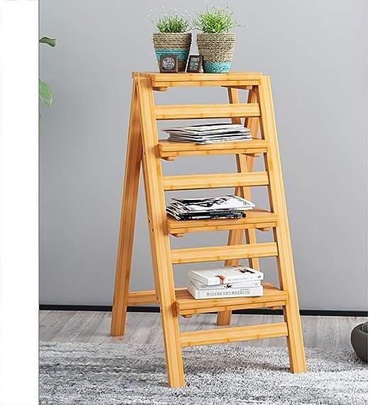 IAIZI Taburete Plegable de bambú de múltiples Funciones Creativo Escalera Hogar/Taburete Alto Silla/Bar/Cama de la Tabla/Conservación/Flower Stand, 2/3/4 Capas (Size : 4 Layers B): Amazon.es: Hogar