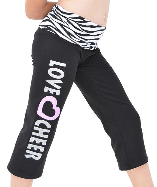 8176a1317cd3c Stretch is Comfort Girl's CAPRI LOVE CHEER Yoga Pants: Amazon.ca ...