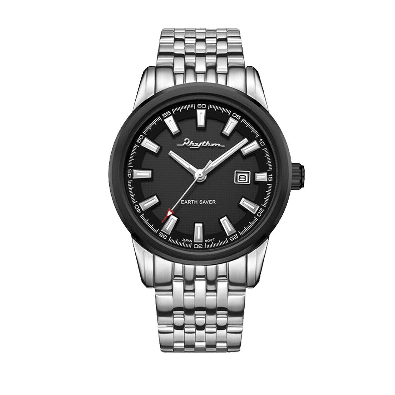 Rhythm Watch HengDongライトシリーズビジネスカジュアルメンズ腕時計ブラックインデックスダイヤル B01MT11RL2