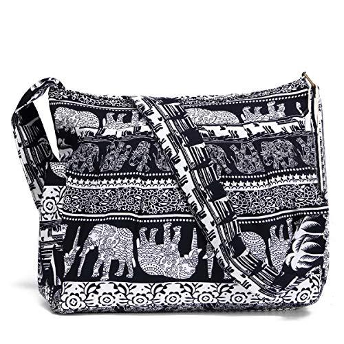 Women Large Shoulder Bag Elephant Print Cotton Bag Adjustable Crossbody Messenger Bag (black - Messenger White