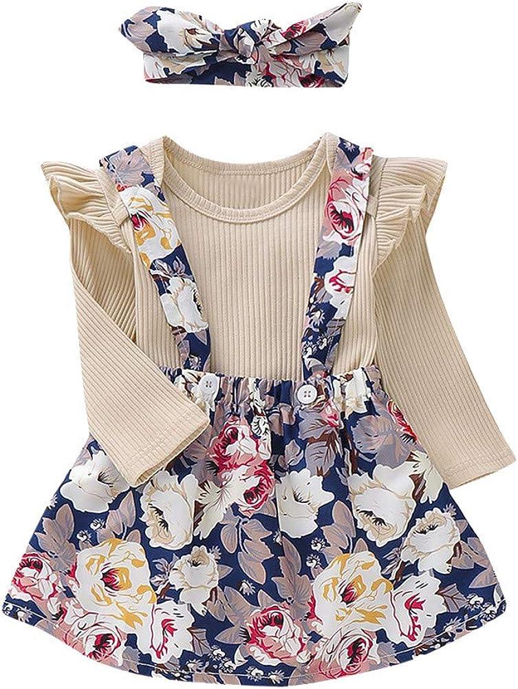 TUDUZ Bebé Niña Manga Larga Camisa Sólido Body De Mameluco Tops Falda Liguero Floral Conjuntos De Trajes (Beige.S, 70): Amazon.es: Ropa y accesorios