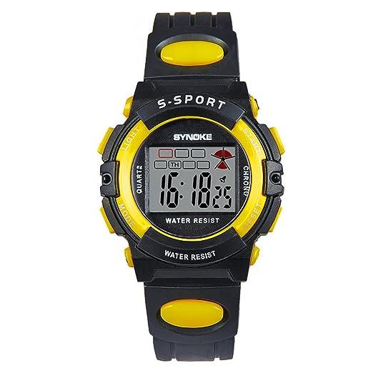 MJARTORIA reloj digital electrónico reloj pulsera digitale cuadrado para niños niño niña amarillo: Amazon.es: Relojes